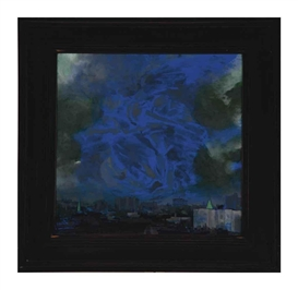 Artwork by Mark Innerst, View Over Thompkins Square Park (Tintoretto), Made of oil and acrylic on board