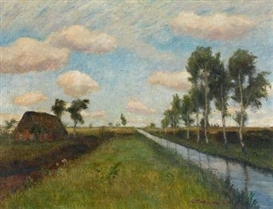 Artwork by Otto Modersohn, Moor landscape (silver clouds- Moor canal), Made of Oil on canvas