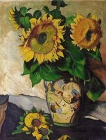 Artwork by Heinrich Nauen, Sunflowers in a painted, double handled Vase, Made of Oil on beaverboard