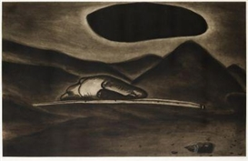 Artwork by Enzo Cucchi, Un'immagine oscura, Made of Coloured aquatint etching on vellum