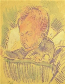 Artwork by Dorothea Maetzel-Johannsen, Kinderbildnis B. 1914, Made of Aquarell and chalk on paper