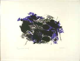 Artwork by Alfred Manessier, E F in Violett 27 1975, Made of Coloured etching on hand made paper