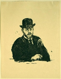 Artwork by Max Slevogt, Selbstbildnis 1908, Made of Lithograph on vellum paper