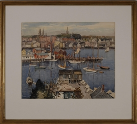 Artwork by Julius Delbos, Gloucester Harbor, Made of Watercolor on paper
