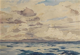 Artwork by Millard Sheets, Two Works: Views from a freighter nearing Cuba, Made of watercolor on paper