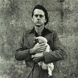Artwork by Peter Peryer, Self Portrait with Rooster, Made of gelatin silver print