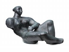 Artwork by Lyndon Dadswell, Reclining Lady, Made of bronze