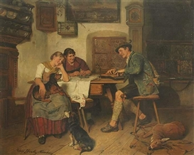 Artwork by Adolf Eberle, Jäger bei der Almeinkehr, Made of Oil on wood
