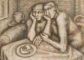 Artwork by Lyndon Dadswell, Two Women, Made of charcoal, crayon and wash on paper