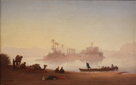 Artwork by Charles-Théodore Frère, Philae Temple, Nile River, Egypt, Made of Oil on panel