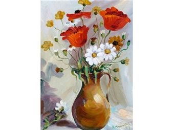 Still life - flowers in a jug By Albin Trowski ,1957