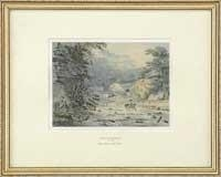 Artwork by Julius Caesar Ibbetson, DYLAS FALLS AND MILL, WALES, Made of Watercolor