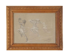 Artwork by Malvina Hoffman, Moment Musical, Pavlova Ballet, Made of pencil and gouache on paper