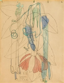 Artwork by Charles Rennie Mackintosh, Tacsonia, Made of pencil and watercolour