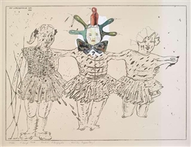 Artwork by Peter Sengl, 3 Works: Harlekin mit Mutze; Hessischer Puppentanz & Harlekin, Made of Lithograph