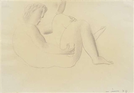 Artwork by Walter Wörn, Recumbent male nude, Made of Pencil on paper