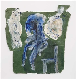 Artwork by Felix Droese, Blaue Figur mit Stuhl, Made of Mixed media on paper