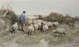 Artwork by Anton Mauve, A shepherd and his flock, Made of chalk and watercolour on cardboard