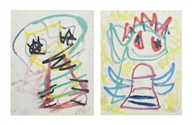 Artwork by Karel Appel, 2 works: Untitled, Made of wax crayons on paper