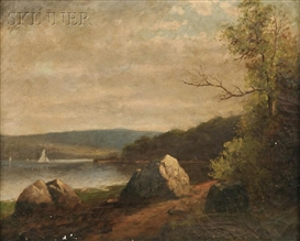 Artwork by John Henry Hill, Lake View with Sailboat on a Summer Day, Made of Oil on canvas