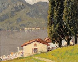 Artwork by Charles Warren Eaton, Lake Como, Made of Oil on canvasboard