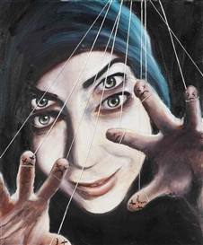 Artwork by Andrea Lehmann, Gestorbene Finger, Made of oil, lacquer and yarn on canvas