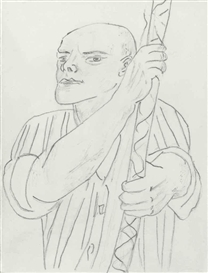 Artwork by Sherrie Levine, After Max Beckmann, Made of graphite and wash on paper