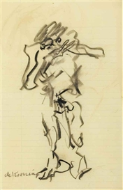 Artwork by Willem de Kooning, Violinist, Made of charcoal on paper