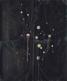 Artwork by Dirk Stewen, Untitled, Made of ink, enamel, confetti and thread on photopaper