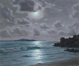 Artwork by Roger de la Corbiere, Seascape moonlight, Made of oil on canvas