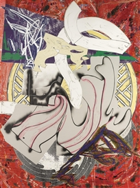 Artwork by Frank Stella, The Waves I: Ahab, Made of Screenprint with lithograph and linocut in colours, with marbling and collage