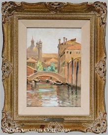 Artwork by Edmund Henry Garret, A Canal in Venice (S.M. dei Gesuati and the Palace of the French Consulate), Made of oil on board