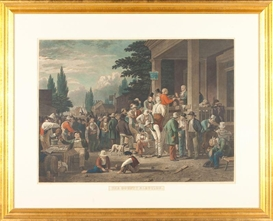 Artwork by George Caleb Bingham, The County Election, Made of colored engraving, mezzotint, and roulette