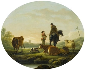 Artwork by Julius Caesar Ibbetson, Landscape with herdsmen and cows, Made of Oil on panel
