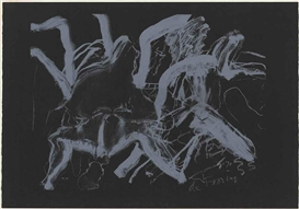 Artwork by Willem de Kooning, Woman at Clearwater Beach, Made of lithograph printed in white on heavy black wove paper