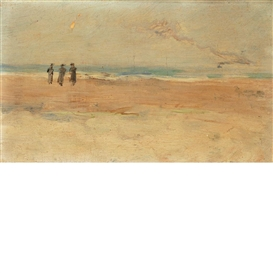 Artwork by Louis Comfort Tiffany, Figures at the Shore and Wave Study: A Double-Sided Work, Made of Oil on panel
