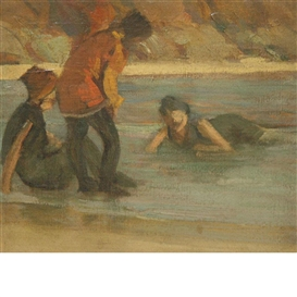Artwork by Thomas Anshutz, Three Bathers, Made of Oil on canvas laid to panel