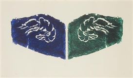 Artwork by Barry Flanagan, Prawns, Made of Woodcut in blue and green