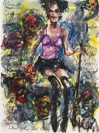 Artwork by Brad Kahlhamer, Prairie Girls; Anngie, Made of ink and watercolor on paper