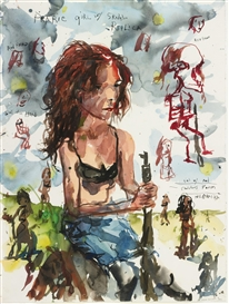Artwork by Brad Kahlhamer, Prairie Girls; Maureen, Made of ink and watercolor on paper