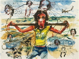 Artwork by Brad Kahlhamer, Prairie Girls; Nikki, Made of ink and watercolor on paper