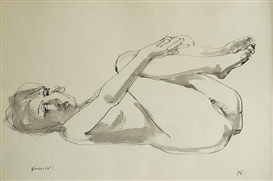 Artwork by Arnošt Paderlík, Lying act with bent legs, Made of indian ink