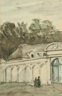 3 Works: Personnages devant un chateau; L'Amour chassant la pudeur & An ink study of a nude(recto) and Etude pour des gondoles (verso) By Emile Bernard