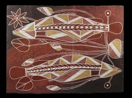 Artwork by Samuel Namunjdja, Untitled (Barramundi), Made of ochres on paper