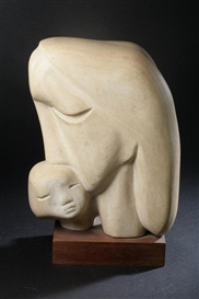Artwork by Charles Umlauf, Mother and Child, Made of stone sculpture