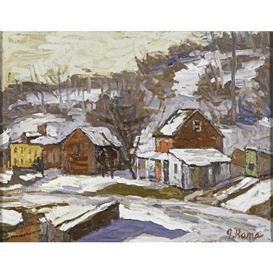 Artwork by John Kane, Lambertville Winter Scene, Made of Oil on canvas