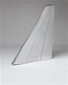 Artwork by Fiona Banner, Mirror Fin, Made of stripped and polished Harrier airplane tail-fin