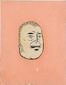 Artwork by Barry McGee, Untitled (Head), Made of acrylic and gouache on board