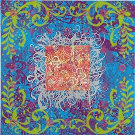 Artwork by Ryan McGinness, A Dream within a Dream (What Am I, A Mind Reader?) (Blue), Made of silkscreen ink on canvas