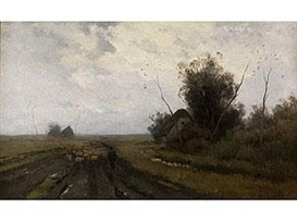Artwork by Anton Mauve, WEITE WIESENLANDSCHAFT IN ABENDSTIMMUNG MIT HEIMZIEHENDER SCHAFHERDE, Made of oil on canvas